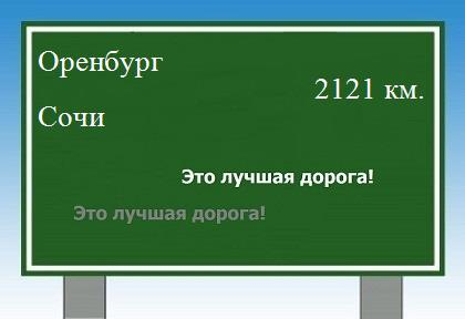 расстояние Оренбург Сочи как