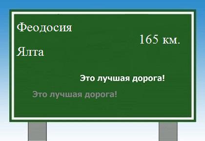 Расстояние от города Ялты до Феодосии по авто дороге